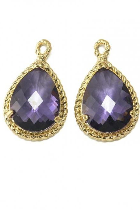 Amethyst Glass Pendant . 16K Polished Gold Plated / 2 Pcs - CG001-PG-AM