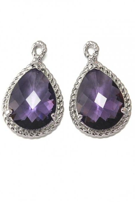 Amethyst Glass Pendant . Polished Original Rhodium Plated / 2 Pcs - CG001-PR-AM