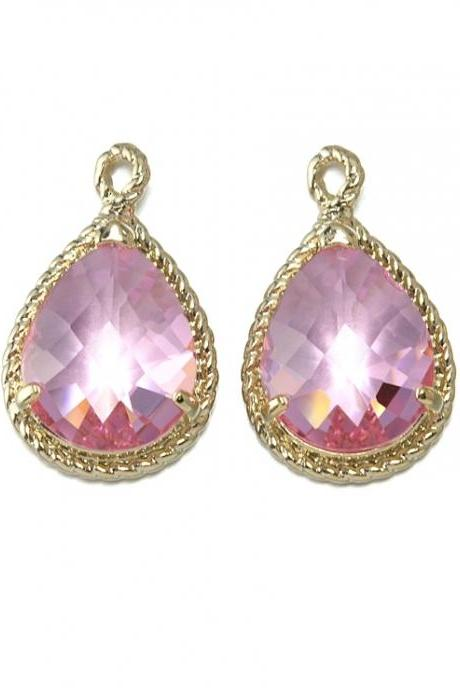 Pink Glass Pendant . 16K Polished Gold Plated / 2 Pcs - CG001-PG-PK