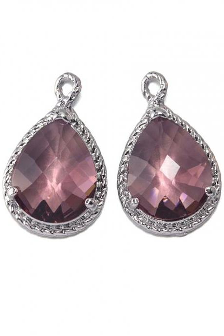 Plum Glass Pendant . Polished Original Rhodium Plated / 2 Pcs - CG001-PR-PL