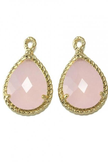 Ice Pink Glass Pendant . 16K Polished Gold Plated / 2 Pcs - CG001-PG-IP