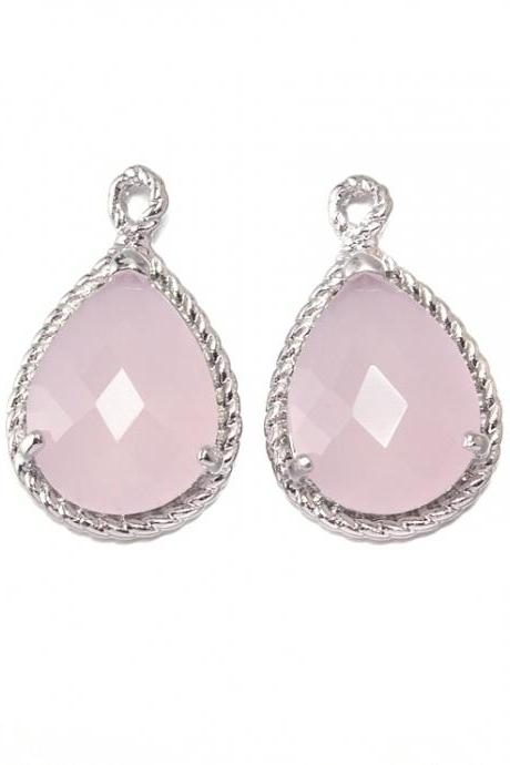 Ice Pink Glass Pendant . Polished Original Rhodium Plated / 2 Pcs - CG001-PR-IP