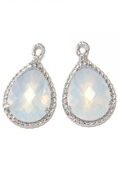 Violet Opal Glass Pendant . Polished Original Rhodium Plated / 2 Pcs - CG001-PR-VO