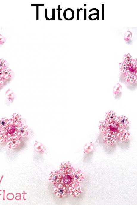Beading Tutorial Pattern Necklace - Flower Float Necklace Jewelry - Simple Bead Patterns - Cherry Blossom Float #5310