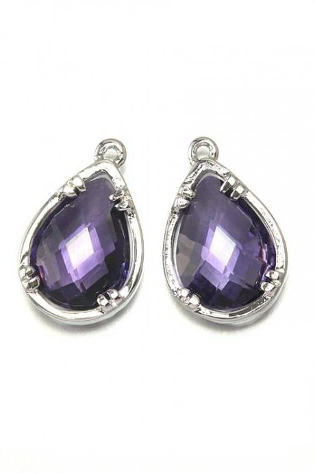 Amethyst Glass Pendant. Polished Original Rhodium Plated / 2 Pcs - CG002-PR-CR