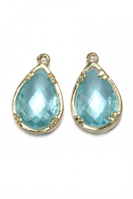 Aquamarine Glass Pendant. 16K Polished Gold Plated / 2 Pcs - CG002-PG-AQ