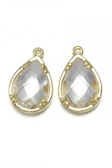 Crystal Glass Pendant. 16K Polished Gold Plated / 2 Pcs - CG002-PG-CR