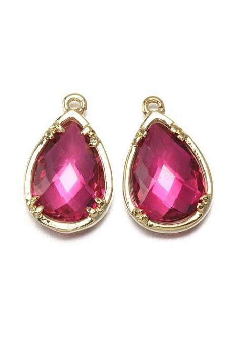 Fuchsia Glass Pendant. 16K Polished Gold Plated / 2 Pcs - CG002-PG-FC