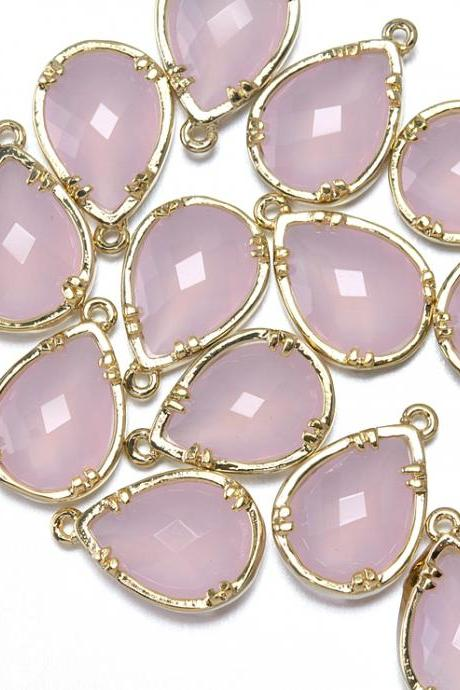 Ice Pink Glass Pendant. 16K Polished Gold Plated / 2 Pcs - CG002-PG-IP