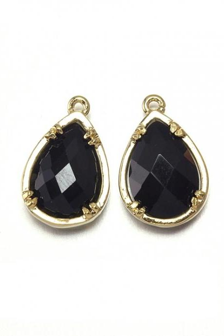Onyx Glass Pendant. 16K Polished Gold Plated / 2 Pcs - CG002-PG-ON