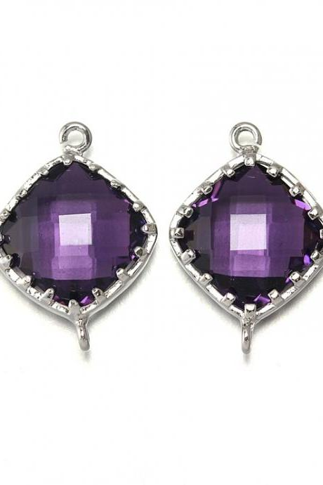 Amethyst Glass Connector. Polished Original Rhodium Plated / 2 Pcs - CG003-PR-AM