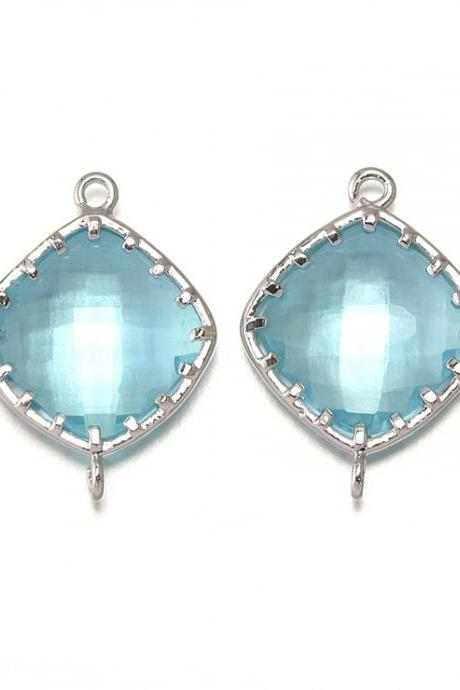 Aquamarine Glass Connector. Polished Original Rhodium Plated / 2 Pcs - CG003-PR-AQ
