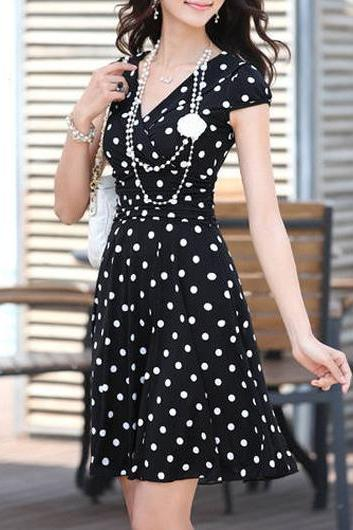 Adorable Chiffon High Waist Polka Dots Dress - Black