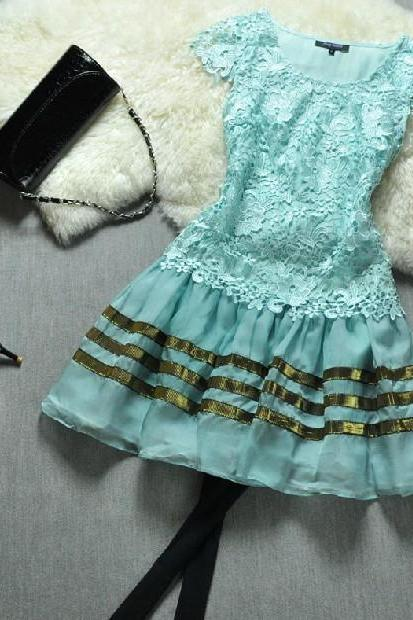 Spring and summer blue princess dress H442315