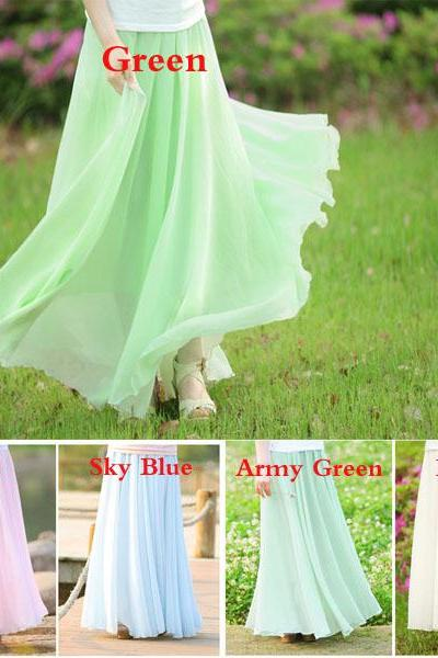 New Fashion Long Maxi Skirts For Women Bohemia Summer Pleated Chiffon Skirts Double Layer Inner Linning Solid Color S M L