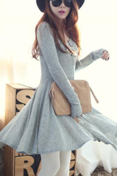 Grey Blends Women Fashion Round Neck Long Sleeve Asymmetrical Knee-Length Dress One Size