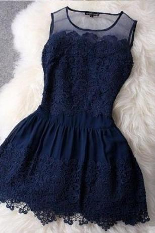 Hollow out Sleeveless Floral Lace and Mesh Dress - White or Navy
