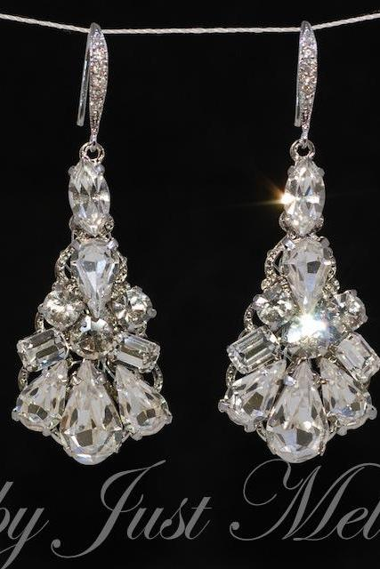 Wedding Earrings, Bridesmaid Earrings, Bridal Jewelry - Vintage Earring with Cubic Zirconia Detailed Earring Hook (E380)