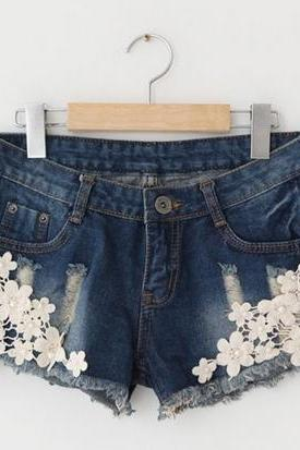 Pretty Crocheted Lace Denim Short, Denim Shorts 2014, Lace shorts, women clothing