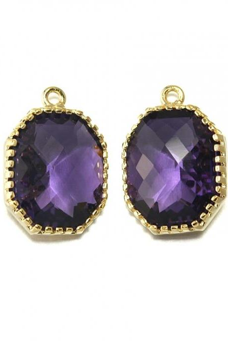 Amethyst Glass Pendant . 16K Polished Gold Plated / 2 Pcs - CG006-PG-AM