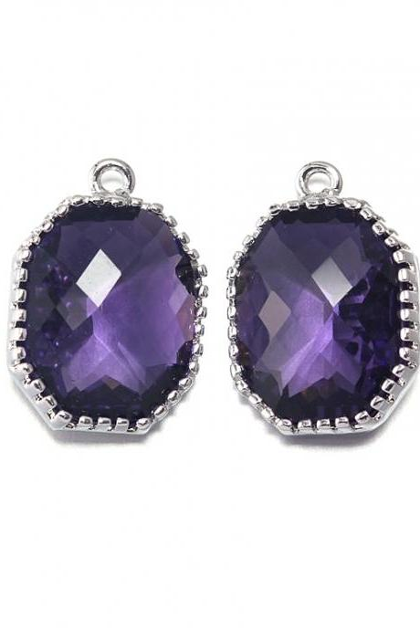 Amethyst Glass Pendant . Polished Original Rhodium Plated / 2 Pcs - CG006-PR-AM