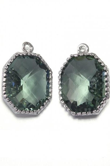 Black Diamond Glass Pendant . Polished Original Rhodium Plated / 2 Pcs - CG006-PR-BD