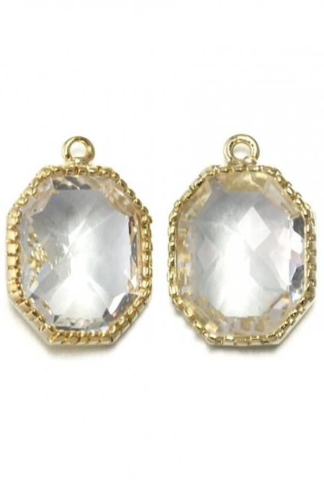 Crystal Glass Pendant . 16K Polished Gold Plated / 2 Pcs - CG006-PG-CR