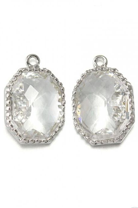 Crystal Glass Pendant . Polished Original Rhodium Plated / 2 Pcs - CG006-PR-CR
