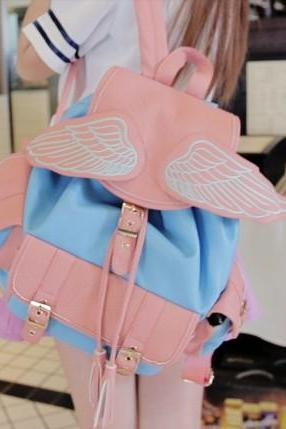 Harajuku Pastel Pink Wing Backpack Shoulder Bag