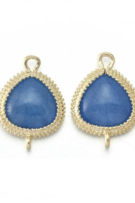 Blue Agate Stone Connector . 16K Matte Gold Plated / 2 Pcs - CG007-MG-BA