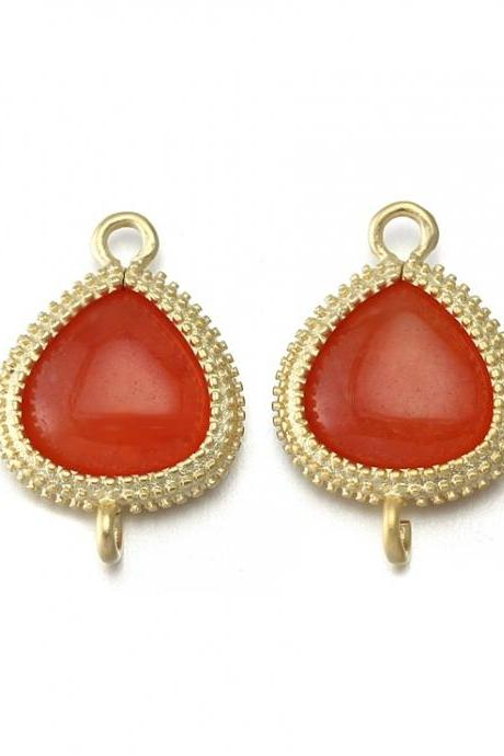 Orange Agate Stone Connector . 16K Matte Gold Plated / 2 Pcs - CG007-MG-OR