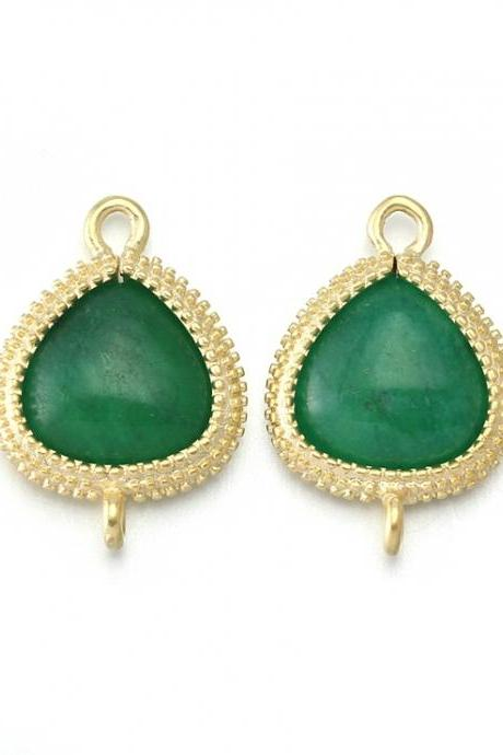 Palace Green Agate Stone Connector . 16K Matte Gold Plated / 2 Pcs - CG007-MG-PG