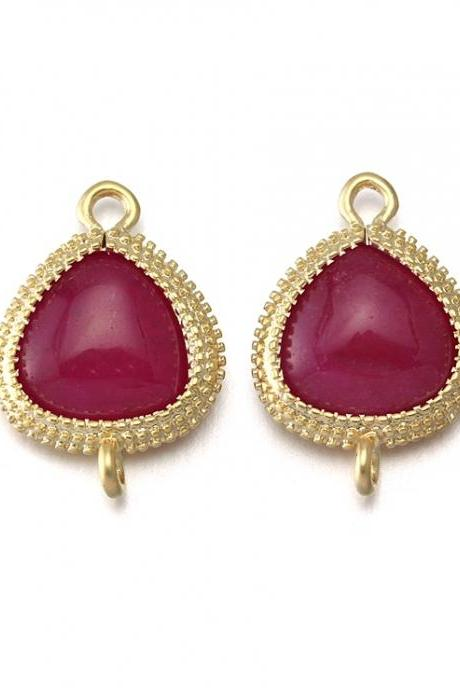 Red Agate Stone Connector. 16K Matte Gold Plated / 2 Pcs - CG007-MG-RA