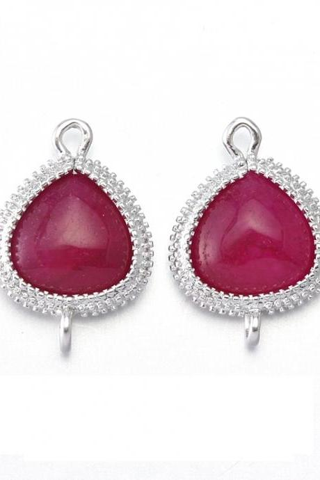 Red Agate Stone Connector. Matte Original Rhodium Plated / 2 Pcs - CG007-MR-RA