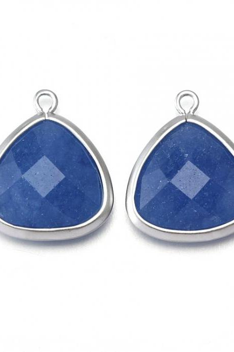 Blue Agate Stone Pendant . Matte Original Rhodium Plated / 2 Pcs - CG008-MR-BA