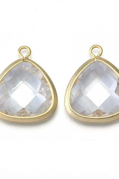 Crystal Agate Stone Pendant . 16K Matte Gold Plated / 2 Pcs - CG008-MG-CR