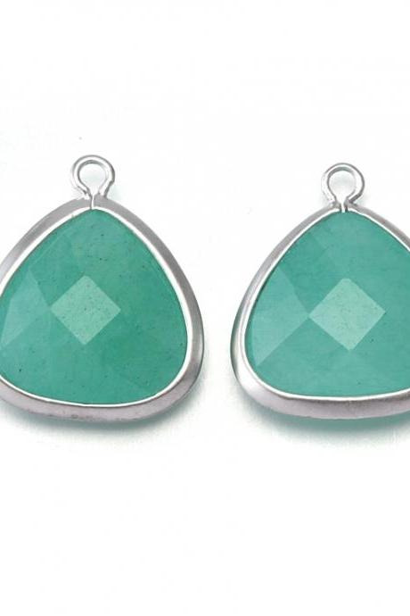 Amazonite Agate Stone Pendant . Matte Original Rhodium Plated / 2 Pcs - CG008-MR-AZ