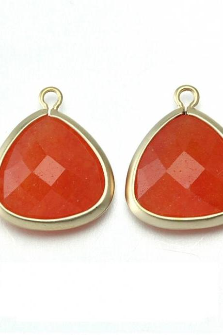 Orange Agate Stone Pendant . 16K Matte Gold Plated / 2 Pcs - CG008-MG-OR