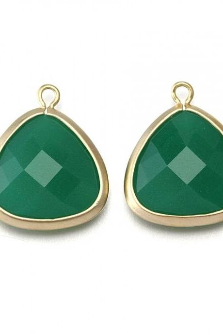 Palace Green Agate Stone Pendant . 16K Matte Gold Plated / 2 Pcs - CG008-MG-PG