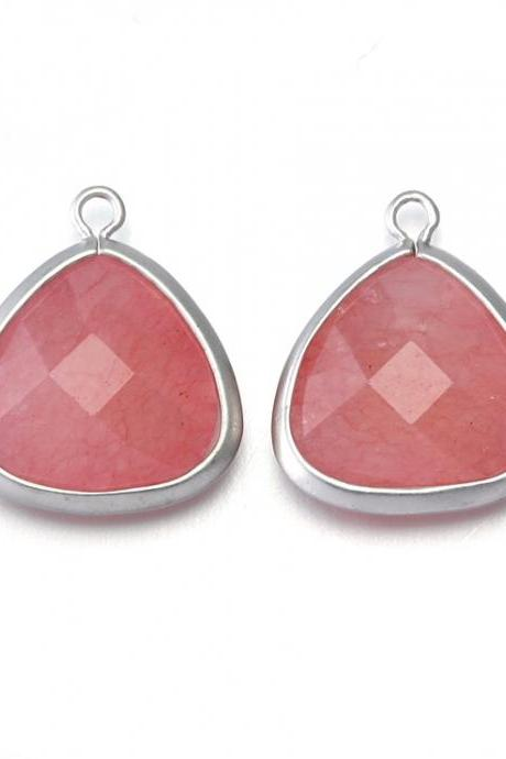 Pink Agate Stone Pendant . Original Rhodium Plated / 2 Pcs - CG008-MR-PK