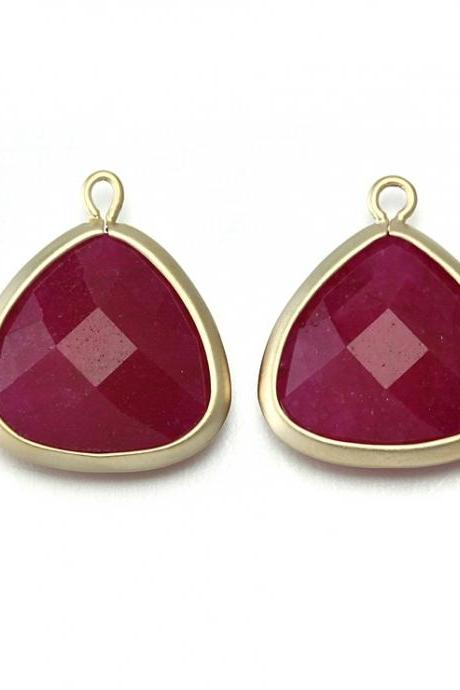 Red Agate Stone Pendant . 16K Matte Gold Plated / 2 Pcs - CG008-MG-RD