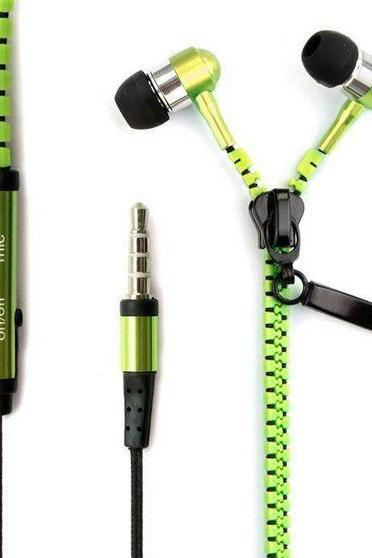 No Tangle Green Metal Zipper Ear Bud Earphones With Microphone