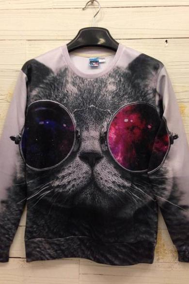 Unisex 3D Cat Meow Sweater