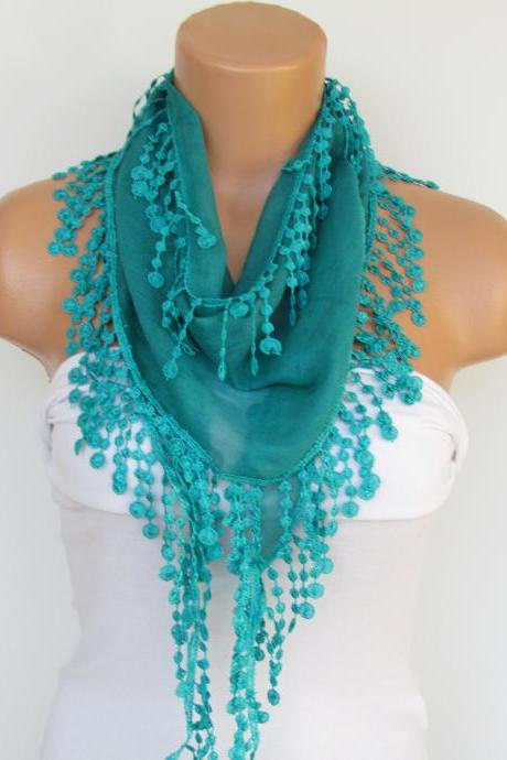 Green Scarf With Fringe-Cotton Scarf-Headband-Necklace- Infinity Scarf- Spring Accessory-Long Scarf