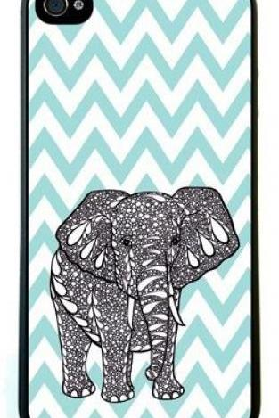 Blue Chevron Elephant Case For iPhone 5 5S 5G
