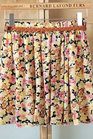 Hot sale ,21 Colors Pleated Floral Chiffon Women Ladies Cute Mini Skirt Belt Include
