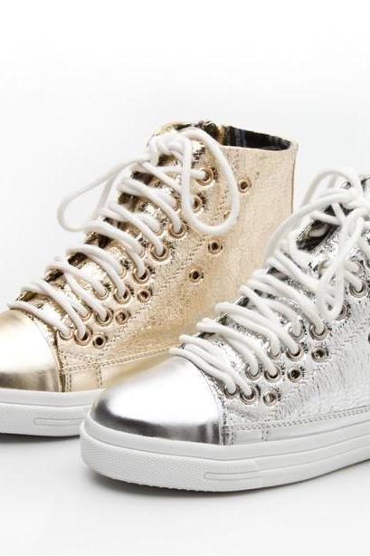 Metallic Ankle High Top Lace Up Sneakers - Gold / Silver
