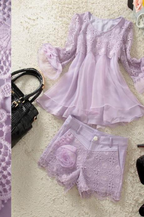 Multilayer swing Shirt and Hook flower hollow shorts Two piece suit AX3