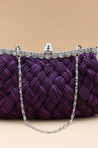 92048 Elegant Satin Banquet Bag Metalic Bridal Handbags Bride Wedding Accessories More Colors you choose