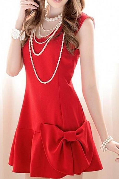 bow Slim sleeveless dress AECACH